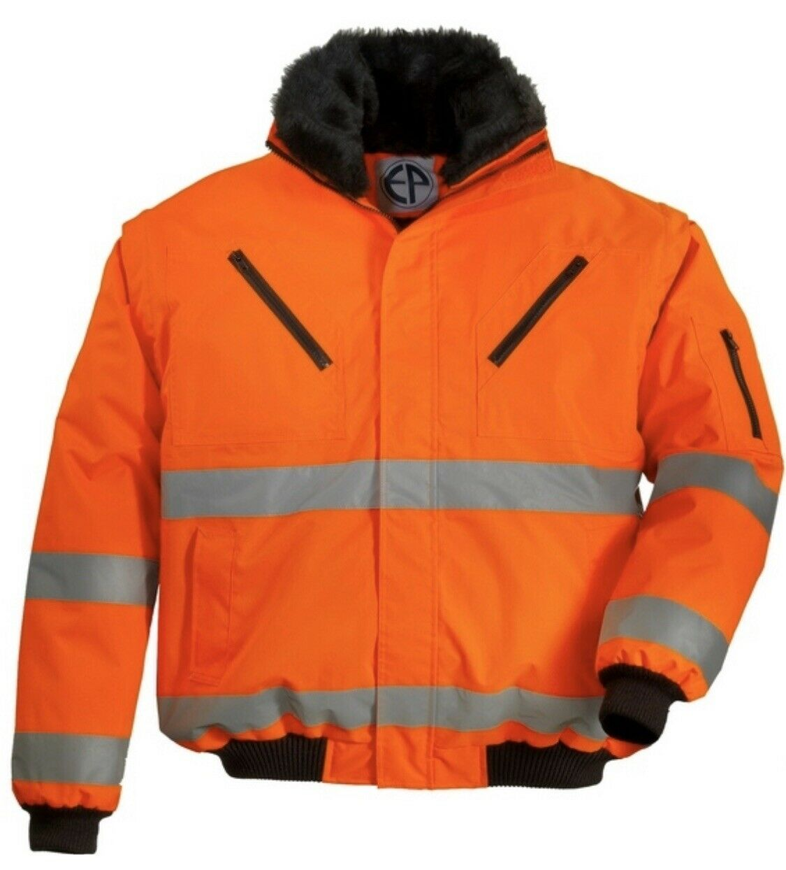 Warnjacke Arbeitsjacke 4 in 1 wasserdichte Pilotenjacke gefüttert  in orange